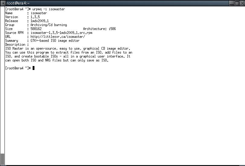 Mandriva urpmq -i isomaster Results